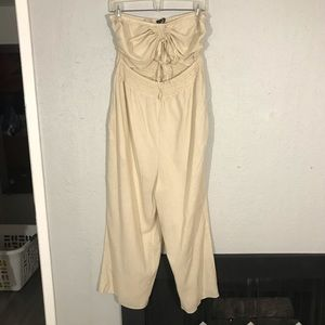 Cotton:On Khaki Strapless Cropped Romper size L